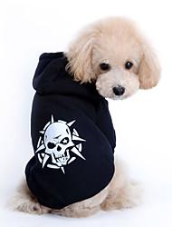 preiswerte -Katze Hund Kapuzenshirts Hundekleidung Lässig/Alltäglich Modisch Totenkopf Motiv Schwarz Kostüm Für Haustiere