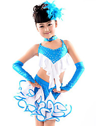 cheap -Latin Dance Outfits Children's Performance Cotton Polyester Spandex Ruffles 5 Pieces Top Skirt Gloves Neckwear
