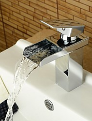 cheap -Bathroom Sink Faucet - Waterfall Chrome Centerset One Hole Single Handle One Hole