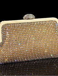 Women Evening Bag Other Leather Type Minaudiere Without Zipper Gold Black Silver