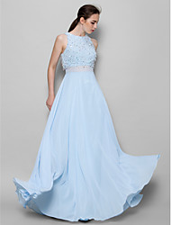 cheap -A-Line Jewel Neck Floor Length Chiffon Bridesmaid Dress with Beading / Sequin by LAN TING BRIDE® / Sparkle & Shine