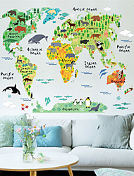 Cartoon Animals World Map Plane Wall Stickers , PVC 60*90 cm (23.6*35.4 inch)