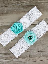 2pcs/set Mint Blue And White Satin Lace Chiffon Beading Wedding Garter