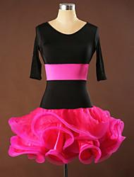 Balli latino-americani Abiti Per donna Da esibizione / Addestramento Elastene / Pieghettato / Viscosa Ruches 1 pezzo Mezza Manica Vestiti