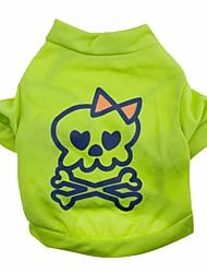 baratos -Gato Cachorro Camiseta Roupas para Cães Caveiras Verde Algodão Ocasiões Especiais Para animais de estimação Verão Homens Mulheres Fofo