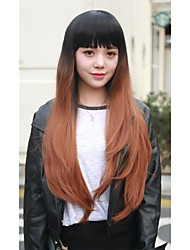 1PC Long Kanekalon Hair Wig  Free Gift Cap U Part Wig Natural Heat Resistant 2 Tones Synthetic Ombre Wig