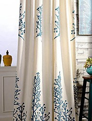 cheap -Rod Pocket Grommet Top Double Pleat Two Panels Curtain Country , Embroidery Leaf Bedroom Linen / Cotton Blend Material Curtains Drapes