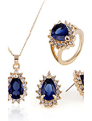 cheap -Women's Cubic Zirconia Jewelry Set Earrings / Necklace / Ring - Vintage / Party / Work Gold / Royal Blue Jewelry Set For Party / Special