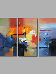 cheap -Ready to Hang Stretched Hand-Painted Oil Painting on Canvas Wall Art Contempory Abstract Blue Color Three Panel