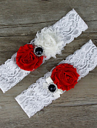 2pcs/set Red And White Satin Lace Chiffon Beading Wedding Garter