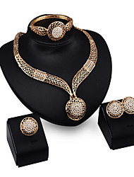 cheap -Jewelry Set Cuff Vintage Party Statement Jewelry European Gold Plated Alloy Bracelet Necklace Earrings Ring
