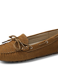 Women's Boat Shoes Spring Fall Comfort Suede Office & Career Party & Evening Athletic Dress Casual Flat Heel Lace-up Light Brown Fuchsia