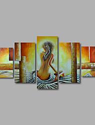 ručně malovaná olejomalba na plátně stěna umění dívky zpět béžová abstraktní pět panelu připraven k zavěšení