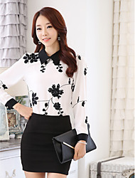 Women's Print / Embroidery Contrast Color Long Sleeve Blouse
