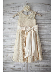 cheap -A-Line Knee Length Flower Girl Dress - Lace Sleeveless Scoop Neck with Bow(s) Sash / Ribbon by LAN TING Express