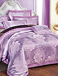 cheap -Duvet Cover Sets Floral 4 Piece Cotton Jacquard Cotton 4pcs (1 Duvet Cover, 1 Flat Sheet, 2 Shams)