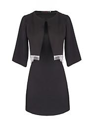 abordables -Costumes ( Coton ) Informel Rond à Manche 3/4 pour Femme
