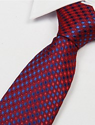 cheap -Red Dark Blue Diamond Pattern Men Polyester Yarn Tie Necktie