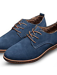 cheap -Bigs Size 38-48 Cotton Shoes Men's Shoes Office & Career / Party & Evening / Casual Suede Oxfords Black / Blue / Brown
