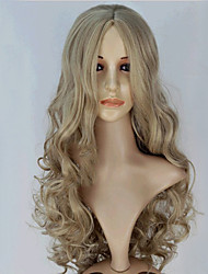 abordables -Pelucas sintéticas Ondulado Grande Pelo sintético Gris Peluca Mujer Larga Sin Tapa