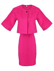 abordables -Costumes ( Coton ) Informel Rond à Manche mi longue pour Femme