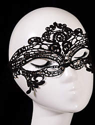 cheap -Black Sexy Lady Lace Mask Cutout Eye Mask for Masquerade Party Fancy Dress Costume