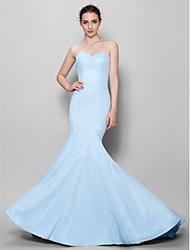 cheap -Mermaid / Trumpet Sweetheart Floor Length Chiffon Bridesmaid Dress with Pleats by LAN TING BRIDE®