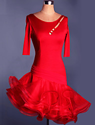 Balli latino-americani Abiti/Gonne Per donna Da esibizione Addestramento Elastene Ruches 1 pezzo Mezza Manica Vestiti 95