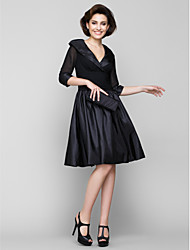 cheap -A-Line V-neck Knee Length Chiffon Taffeta Mother of the Bride Dress with Ruching by LAN TING BRIDE®