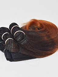 Human Hair Indian Ombre Hair Weaves Wavy Hair Extensions 3 Pieces Black/Dark Auburn