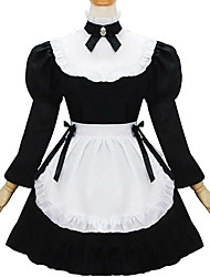 cheap -Gothic Lolita Dress Cute Women's Maid Suits Cosplay Black Long Sleeves