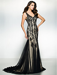 cheap -Mermaid / Trumpet V Neck Sweep / Brush Train Tulle Formal Evening Dress with Appliques by TS Couture®