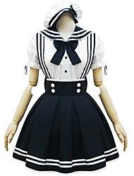 baratos -Uma-Peça/Vestidos / Ternos de Empregadas Lolita Clássica e Tradicional Lolita Cosplay Vestidos Lolita Branco / Preto Patchwork Manga Curta