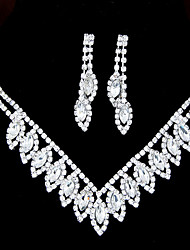 cheap -Jewelry Set - Rhinestone, Imitation Diamond Party, Bridal Include White For Wedding / Earrings / Necklace