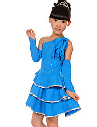cheap -Latin Dance Outfits Children's Performance Spandex / Polyester Ruffles 3 Pieces Sleeves / DressSkirt length M:57cm / L:60cm / XL:63cm /