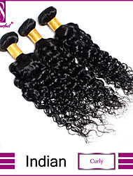 cheap -Indian Hair Curly / Classic / Curly Weave Virgin Human Hair Natural Color Hair Weaves 3 Bundles Human Hair Weaves