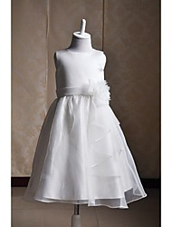 A-Line Tea Length Flower Girl Dress - Satin Tulle Sleeveless Jewel Neck with Flower