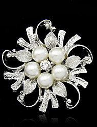 cheap -Silver Plated Pearl Tree Brooch