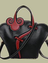 Women Bags All Seasons PU Shoulder Bag Tote for Shopping Casual Formal Office & Career Black Red