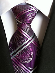 cheap -Men's Polyester Neck Tie,Vintage Cute Party Work Casual Print All Seasons Purple Rainbow