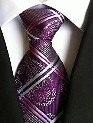 Homme Rétro Mignon Soirée Travail Décontracté Polyester Cravate,Imprimé Toutes les Saisons Violet Arc-en-ciel