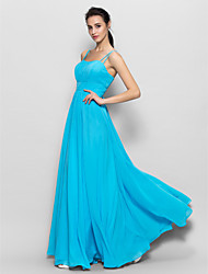 cheap -A-Line Spaghetti Straps Floor Length Chiffon Bridesmaid Dress with Draping by LAN TING BRIDE®