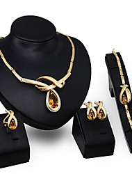 cheap -Crystal Jewelry Set - Zircon, Cubic Zirconia Statement, Vintage, Party Include Gold / Orange For / Earrings / Necklace