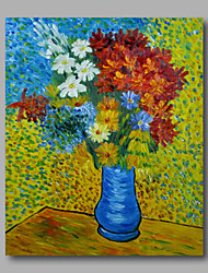 cheap -Ready to hang Stretched Hand-Painted Oil Painting Canvas Van Gogh repro Vase with Daisies and Anemones One Panel