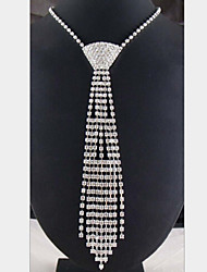 cheap -Women's Imitation Diamond Statement Necklace - Imitation Diamond Tassel Necklace For