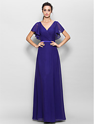 cheap -Sheath / Column V Neck Floor Length Chiffon Bridesmaid Dress with Criss Cross by LAN TING BRIDE®