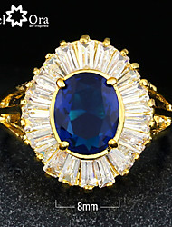 cheap -New 2015 Fashion Blue Cubic Zirconia Gold Plated Lady Ring For woman&lady