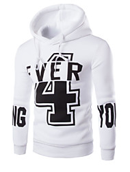 Casual/Daily Simple Hoodie Letter Round Neck Micro-elastic Cotton Long Sleeve Spring