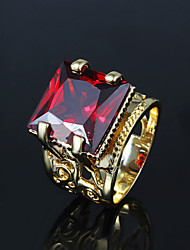 Classic Luxurious Noble Red CZ Stone 18k Gold Plated Band Rings For Woman & Lady
