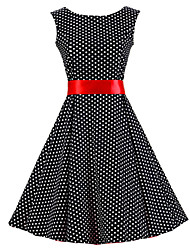 cheap -Women's Vintage Cotton A Line Dress - Polka Dot Black & Red